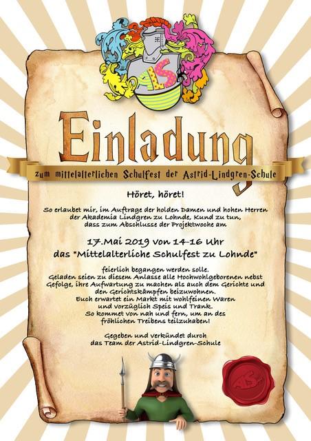"""Einladung zum Schulfest in der Projektwoche """"Mittelalter"""""""